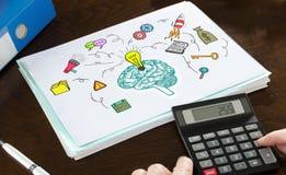 Geschäftsideenkonzept veranschaulicht auf einem Papier Stockfoto