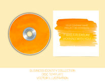 Geschäftsidentitätssammlung Orange und gelbes Aquarell CD- oder DVD-Abdeckung Schablone Vektorabbildung EPS10 Stockfoto