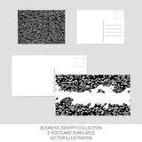 Geschäftsidentitätssammlung Schwarzweiss-Chaos Postkartenschablonen in Größe zwei mit Rückseite Vektor eps10 Stockbilder