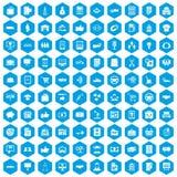 100 Geschäftsikonen blau eingestellt Stockbilder