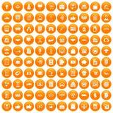 100 Geschäftsikonen orange eingestellt Stockfoto