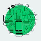 Geschäftsillustration auf grünem Hintergrund Stockfoto
