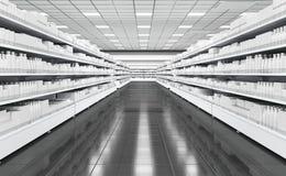 Geschäftsinnenraum mit Regalen für Waren und schwarzen Boden lizenzfreie stockbilder