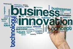 Geschäftsinnovationswort-Wolkenkonzept auf grauem Hintergrund Stockfotografie