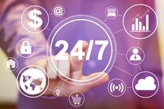 Geschäftsknopf 24 Stunden Service-Ikonennetz-Satz Stockfoto
