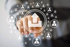 Geschäftsknopfantriebskrafton-line-Verbindungs-Ikonennetz Lizenzfreie Stockfotos