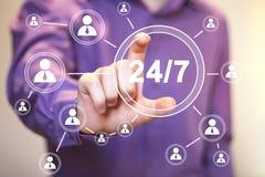 Geschäftsknopfnetz 24 Stunden Service-Zeichen Stockbild