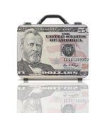 Geschäftskoffer für Reise mit Reflexion und 50 Dollar Anmerkung Stockfoto