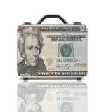 Geschäftskoffer für Reise mit Reflexion und 20 Dollar Anmerkung Stockfotos