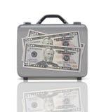 Geschäftskoffer für Reise mit Reflexion und drei 50 Dollar Stockbilder