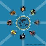 Geschäftskommunikationen weltweit handeln Flaches Design des Vektors Stockfoto