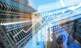 Geschäftskonzept: Anstieg des Profites Hochhausbüros und -geld lizenzfreie stockfotografie