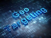 Geschäftskonzept: Blaues Geo, das auf digitalen Hintergrund anvisiert Stockfotos