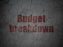 Geschäftskonzept: Budget-Zusammenbruch auf Schmutzwandhintergrund lizenzfreie abbildung