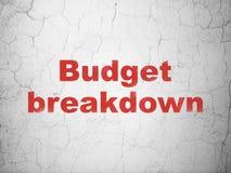 Geschäftskonzept: Budget-Zusammenbruch auf Wandhintergrund vektor abbildung