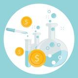 Geschäftskonzept des Alchimieexperimentes für die Erzeugung des Geldes und der Ideen mit Laborausrüstungen im flachen Design Stockfoto