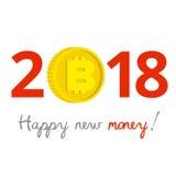 Geschäftskonzept 2018 des neuen Jahres Gold-bitcoin anstelle null Lizenzfreie Stockbilder