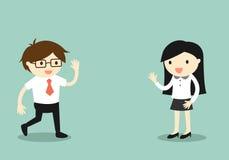 Geschäftskonzept, Geschäftsmann sagen hallo zur Geschäftsfrau lizenzfreie abbildung