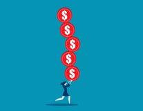 Geschäftskonzept-Illustrationsfrau überbelastet mit Risiko Lizenzfreie Stockbilder