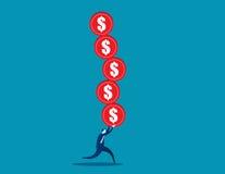 Geschäftskonzept-Illustrationsmann überbelastet mit Risiko Lizenzfreie Stockfotografie