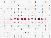 Geschäftskonzept: Integration auf Wandhintergrund stockfotografie