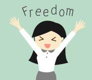 Geschäftskonzept, KarikaturGeschäftsfrau, die mit ihrer Freiheit glücklich sich fühlt Auch im corel abgehobenen Betrag Stockfoto