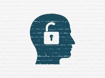 Geschäftskonzept: Kopf mit Vorhängeschloß auf Wandhintergrund Lizenzfreies Stockbild