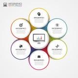 Geschäftskonzept mit 6 Wahlen, Teilen, Schritten oder Prozessen Vektor Stockfotografie