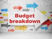 Geschäftskonzept: Pfeil mit Budget-Zusammenbruch auf Schmutzwandhintergrund stock abbildung