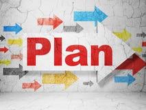 Geschäftskonzept: Pfeil mit Plan auf Schmutzwandhintergrund Lizenzfreies Stockbild