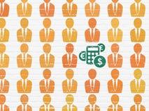 Geschäftskonzept: Taschenrechnerikone auf Wand Stockfotos