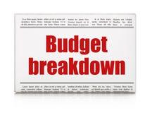 Geschäftskonzept: Zeitungsschlagzeile Budget-Zusammenbruch lizenzfreie abbildung