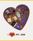 Geschäftskonzeptillustration - i-Liebe mein Job Stockbilder