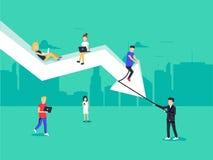 GeschäftsKostenaufstellungs-Konzeptillustration des Geschäftsteams sitzend auf dem großen Pfeil lizenzfreie abbildung