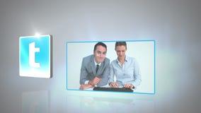 Geschäftslagen gegen grauen Hintergrund stock video footage