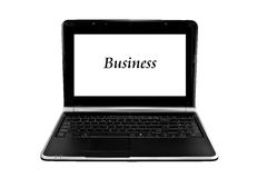 GeschäftsLaptop-Computer getrennt auf Weiß Stockfotografie