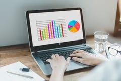 Geschäftslaptop und -marketing lizenzfreie stockfotos
