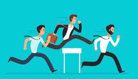 Geschäftsleute überwinden Hürden Hindernisrennenwettbewerb, Führung, die Vektorkonzept überwindt lizenzfreie abbildung