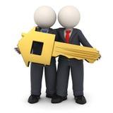 Geschäftsleute 3d, die eine Haus- oder Home-Taste anhalten Lizenzfreie Stockfotos