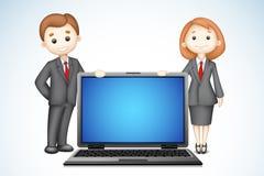 Geschäftsleute 3d mit Laptop Lizenzfreie Stockfotografie