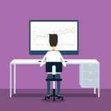 Geschäftsleute Analytikgeschäftsdiagramm und seo auf Netz Lizenzfreie Stockfotografie