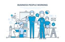 Geschäftsleute Arbeiten Arbeitsgruppe, Kollegen, Partner, Teamwork und Zusammenarbeit lizenzfreie abbildung
