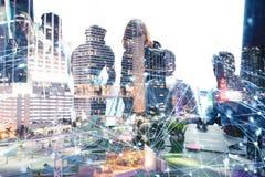 Geschäftsleute arbeiten im Büro mit Internet-Effekten zusammen Konzept der Teamwork und der Partnerschaft doppeltes stockfoto