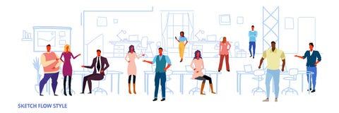 Geschäftsleute arbeiten in mit-arbeitenden Arbeitsplatzmischungs-Renninnenkollegen der Mitte des Bürooffenen raumes kreativen lizenzfreie abbildung