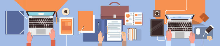 Geschäftsleute Arbeitsplatz-Schreibtisch-Hand-, dielaptop-und Tablet-Computer-Spitzenwinkelsicht-Büro-Teamwork Arbeits sind