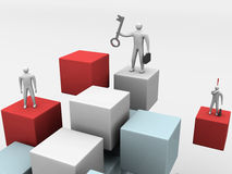 Geschäftsleute auf abstraktem Hintergrund des Würfels 3d Lizenzfreie Stockfotos