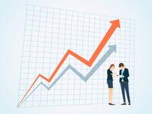 Geschäftsleute auf Geschäftsdiagrammhintergrund Stockbilder