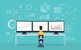 Geschäftsleute auf Monitorberichtsdiagramm und -geschäft analysieren Stockfotos