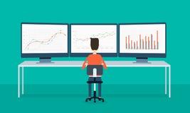 Geschäftsleute auf Monitorberichtsdiagramm und SEO auf Netz Lizenzfreie Stockfotos