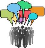 Geschäftsleute bunte Gesprächs-Luftblasen des Netzes Stockfotografie